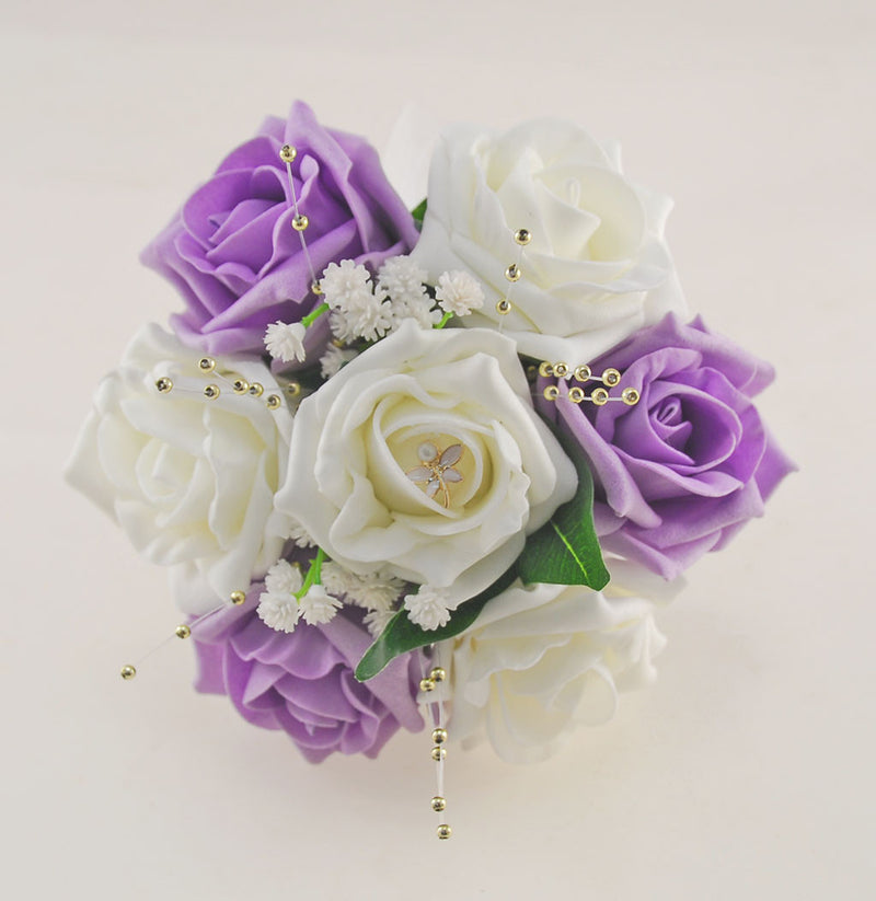 Lilac & Ivory Rose Lucy Wedding Flower Package, With Gold Pearls & Dragonfly Charm