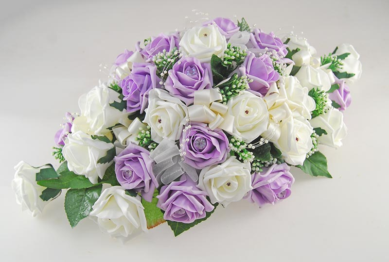 Lilac, Ivory Rose & Silk Gypsophila Wedding Top Table Arrangement