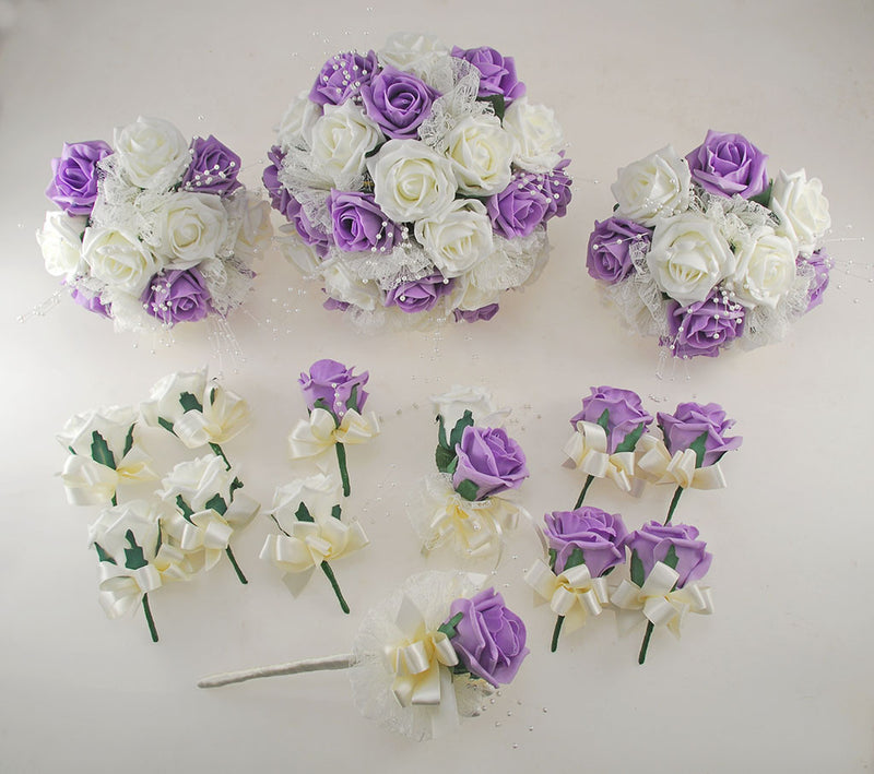 Lilac and Ivory Rose Wedding Flower Package, Pearl Strands & Lace Brides Bouquet, Bridesmaids Posies, Flower Girl Wand, Groom, Guest Buttonholes