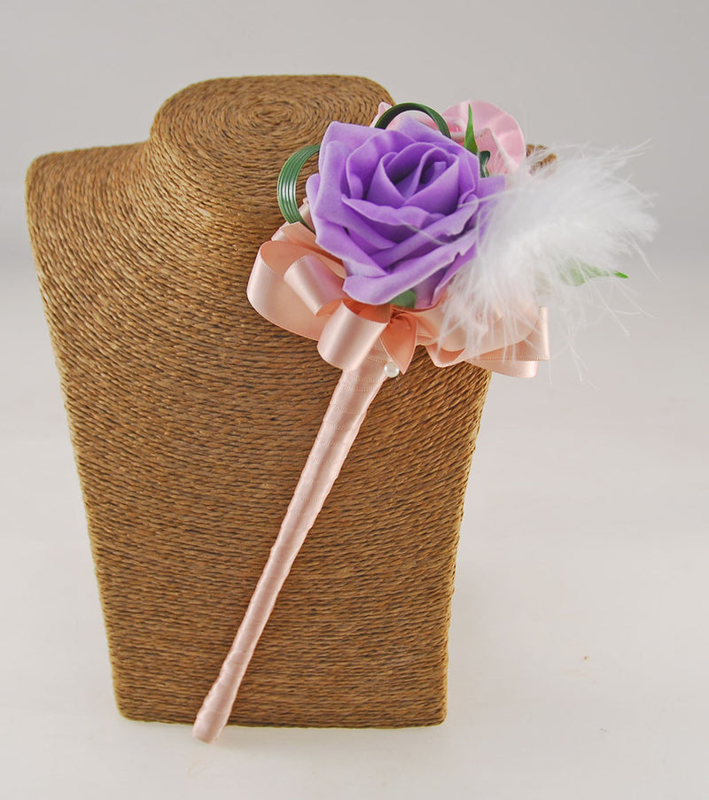 Lilac & Pink Foam Rose Flower Girl Feather Wedding Wand
