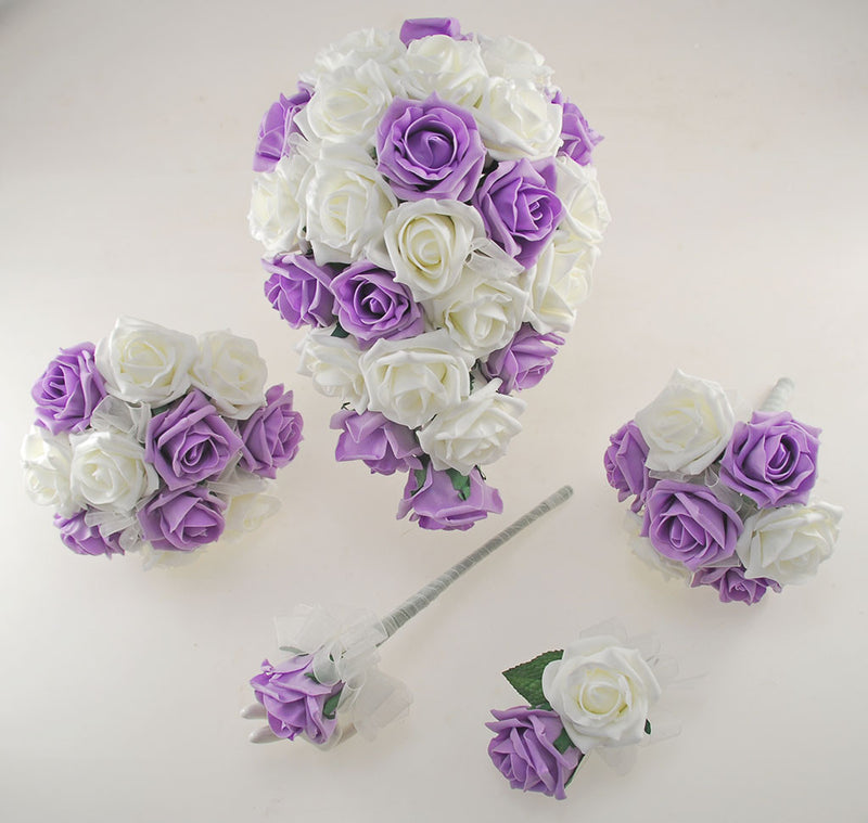 Lilac and Ivory Foam Rose Wedding Shower Package with Brides Shower Bouquet, Bridesmaids Posy, Young Maids Posy, Flower Girl Wand & Grooms Buttonhole