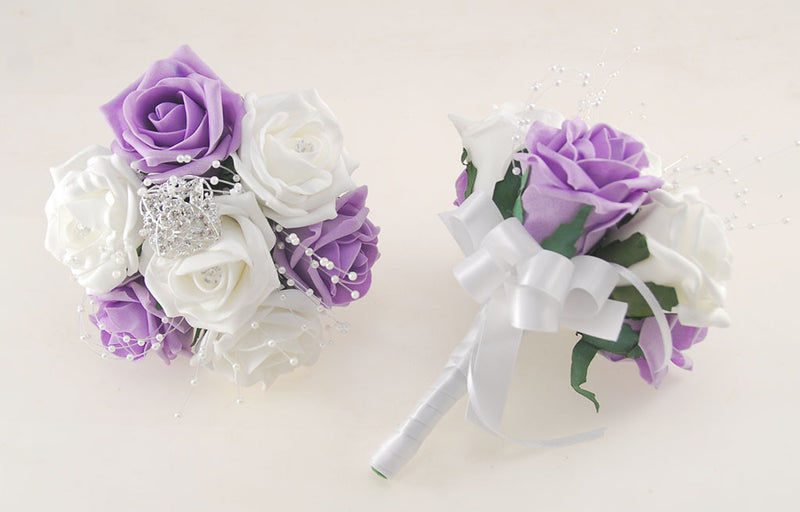 Lilac and White Diamante Foam Rose and Brooch Wedding Flower Package with Brides Bouquet, Bridesmaids Posies, Grooms Buttonhole