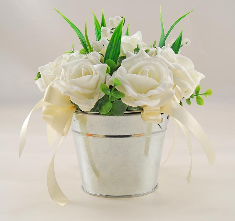 Lily of the Valley & Ivory Rose Wedding Table Pail Arrangement Posy