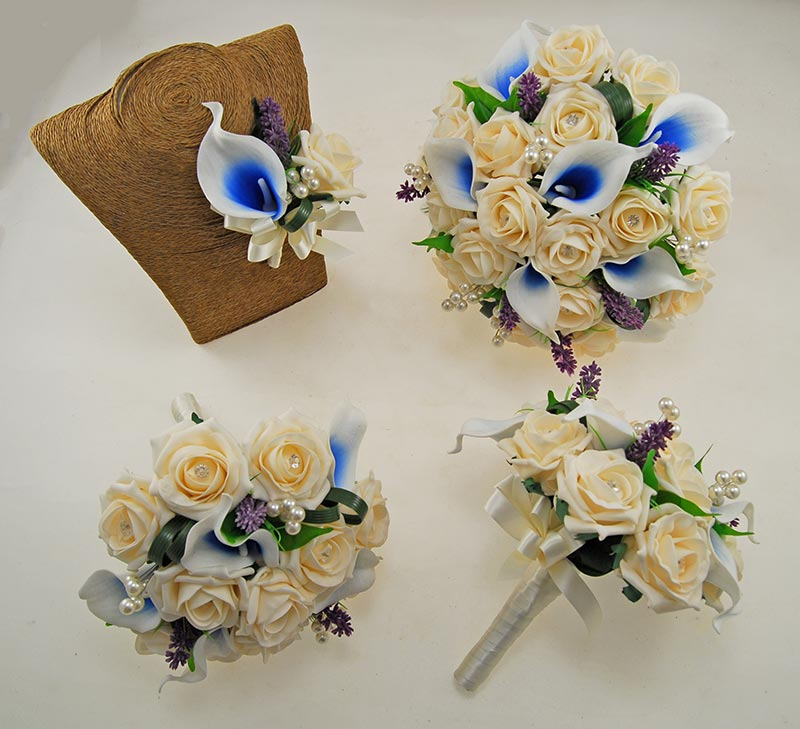 Louise Cream Rose & Blue Calla Lily Wedding Flower Package, Bridal Bouquet, Bridesmaids Posies, Grooms Buttonhole