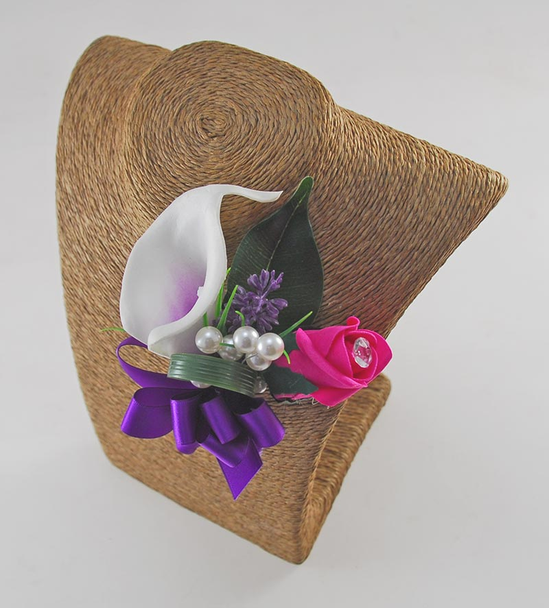 Louise Cerise Pink Rose & Purple Calla Lily Wedding Flower Package, Brides Shower Bouquet, Bridesmaids Posy, Grooms Buttonhole