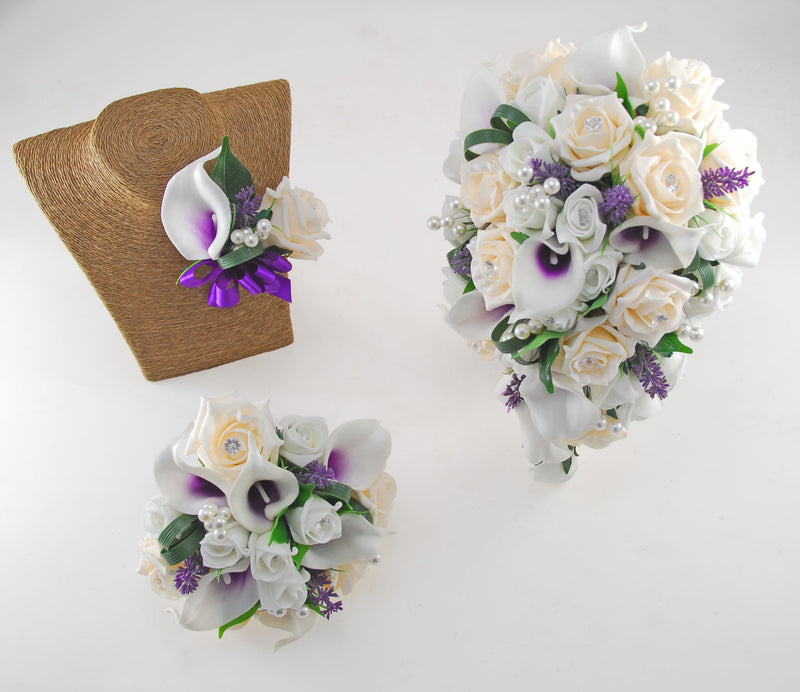 Louise Cream & Ivory Calla Lily & Rose Wedding Flower Package, Brides Shower Bouquet, Bridesmaids Posy, Grooms Buttonhole