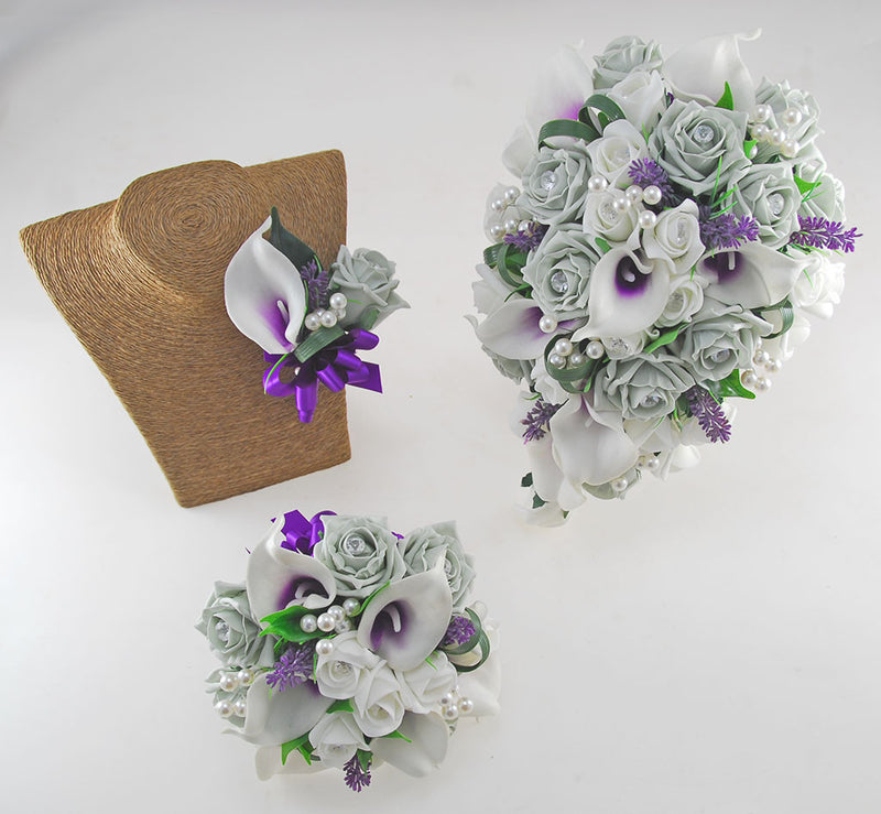 Louise Grey, Ivory Rose & Purple Calla Lily Wedding Flower Package, Brides Shower Bouquet, Bridesmaids Posy, Grooms Buttonhole