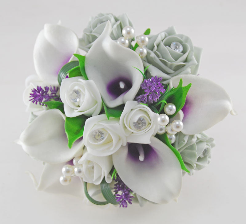 Wedding Flowers On A Budget Uk: Louise Grey, Ivory Rose & Purple Calla Lily Wedding Flower