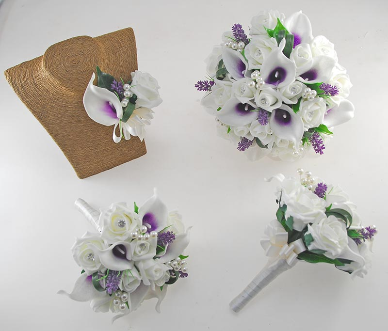 Louise Ivory Rose & Purple Calla Lily Wedding Flower Package, Bridal Bouquet, Bridesmaids Posies, Grooms Buttonhole