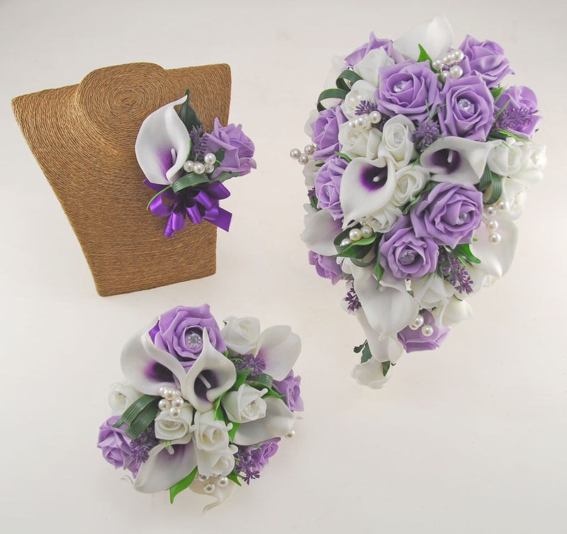 Louise Lilac & Ivory Calla Lily & Rose Wedding Flower Package, Brides Shower Bouquet, Bridesmaids Posy, Grooms Buttonhole