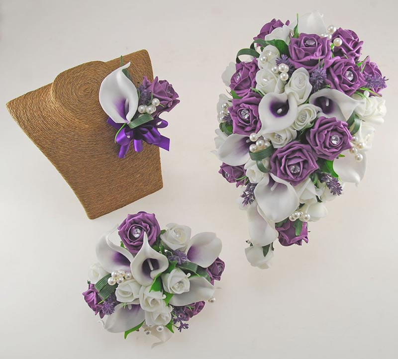 Louise Plum Purple & Ivory Calla Lily & Rose Wedding Flower Package, Brides Shower Bouquet, Bridesmaids Posy, Grooms Buttonhole