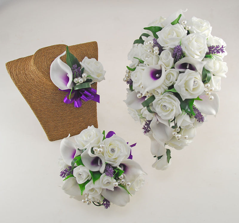 Louise Purple & Ivory Calla Lily & Rose Wedding Flower Package, Brides Shower Bouquet, Bridesmaids Posy, Grooms Buttonhole