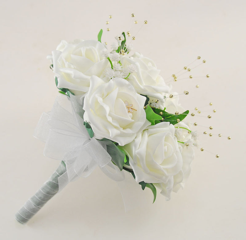 Ivory Rose Lucy Wedding Flower Package, With Gold Pearls & Dragonfly Charm
