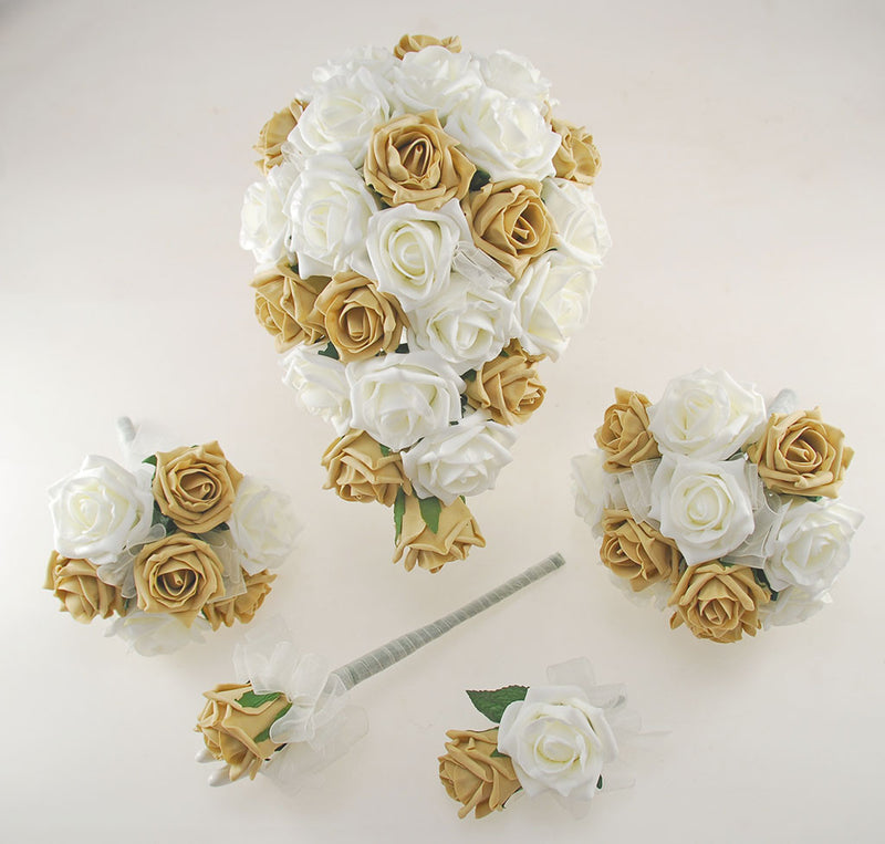 Coffee and Ivory Foam Rose Wedding Shower Package with Brides Shower Bouquet, Bridesmaids Posy, Young Maids Posy, Flower Girl Wand & Grooms Buttonhole
