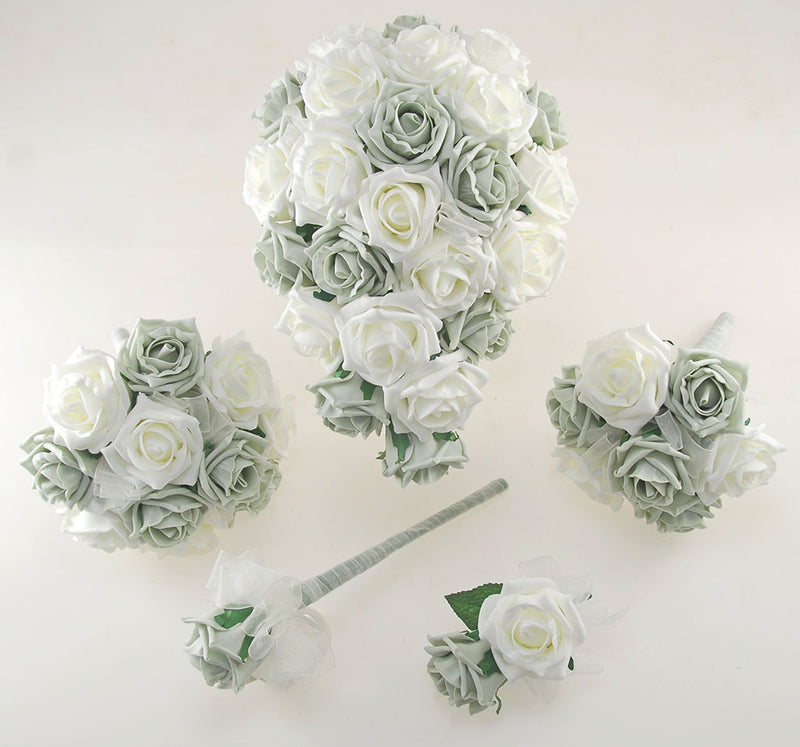 Grey and Ivory Foam Rose Wedding Shower Package with Brides Shower Bouquet, Bridesmaids Posy, Young Maids Posy, Flower Girl Wand & Grooms Buttonhole
