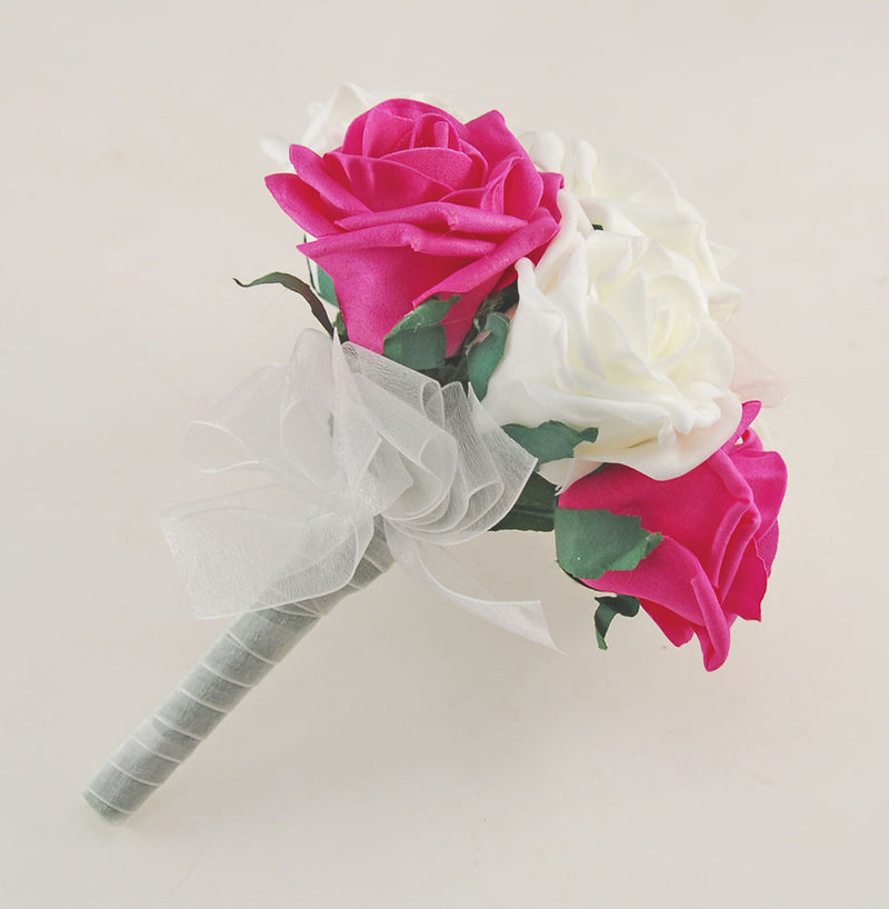 Cerise Pink and Ivory Foam Rose Wedding Shower Package with Brides Shower Bouquet, Bridesmaids Posy, Young Maids Posy, Flower Girl Wand & Grooms Buttonhole