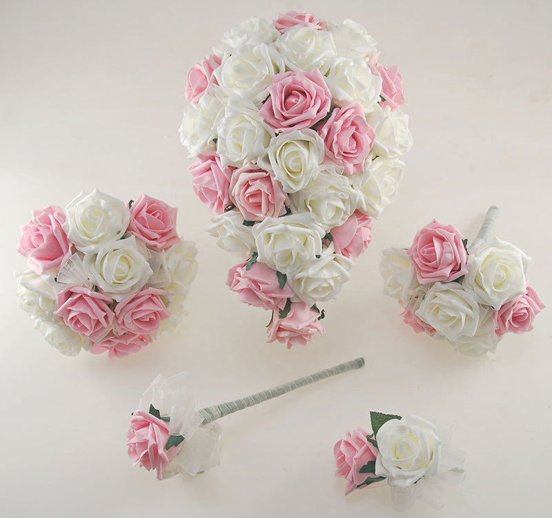 Luxurious Dusky Pink and Ivory Foam Rose Wedding Shower Package with Brides Shower Bouquet, Bridesmaids Posy, Young Maids Posy, Flower Girl Wand & Grooms Buttonhole