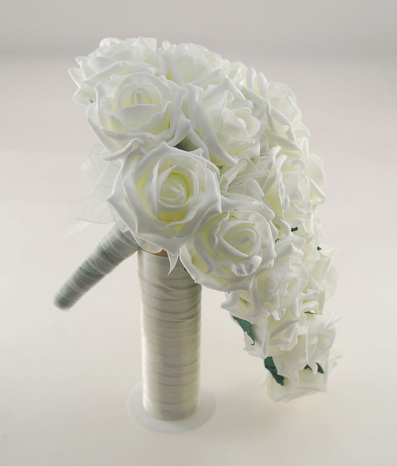 Luxurious Ivory Foam Rose Wedding Shower Package with Brides Shower Bouquet, Bridesmaids Posy, Young Maids Posy, Flower Girl Wand & Grooms Buttonhole
