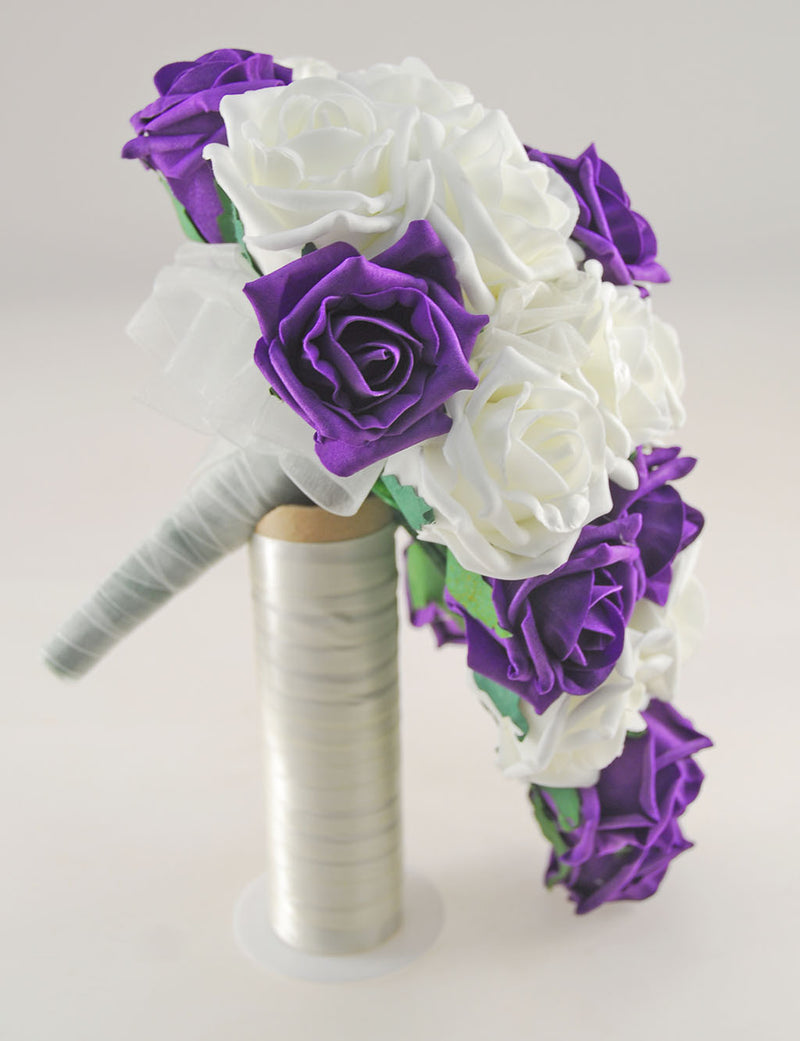 Luxurious Purple and Ivory Foam Rose Wedding Shower Package with Brides Shower Bouquet, Bridesmaids Posy, Young Maids Posy, Flower Girl Wand & Grooms Buttonhole