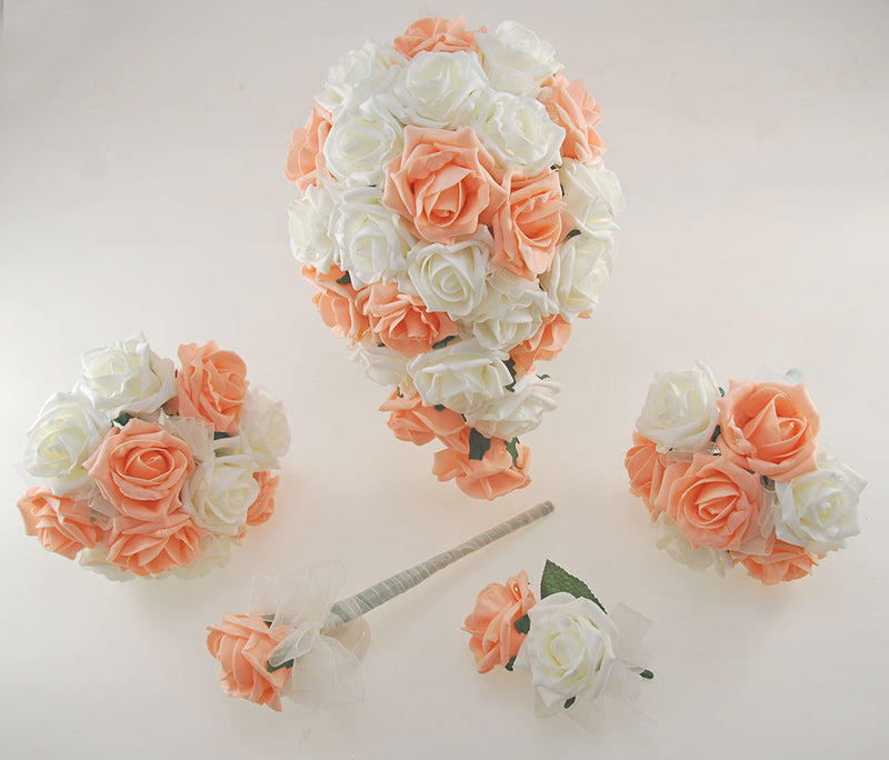 Peach and Ivory Foam Rose Wedding Shower Package with Brides Shower Bouquet, Bridesmaids Posy, Young Maids Posy, Flower Girl Wand & Grooms Buttonhole