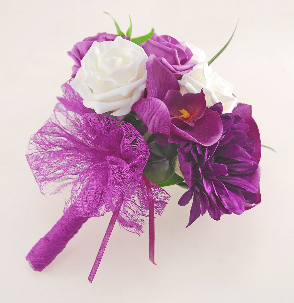 Dark Pink Wedding Flowers: Magenta Orchid, Purple Gerbera, Dark Pink Rose Kimberley