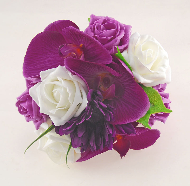 Magenta Orchid, Purple Gerbera, Dark Pink Rose Kimberley Wedding Package, Brides Bouquet, Bridesmaids Posy, Grooms Buttonhole
