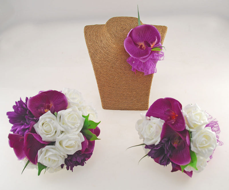 Magenta Orchid, Purple Gerbera, Ivory Rose Kimberley Wedding Package