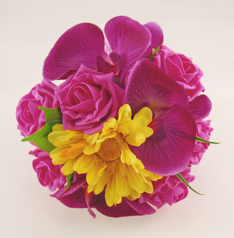 Magenta Orchid, Yellow Gerbera, Cerise Pink Rose Kimberley Wedding Package, Brides Bouquet, Bridesmaids Posy, Grooms Buttonhole