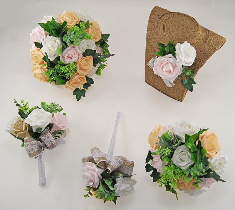 Mango, Pale Pink & Ivory Rose Hessian Lace Ribbon Amber Wedding Flower Package
