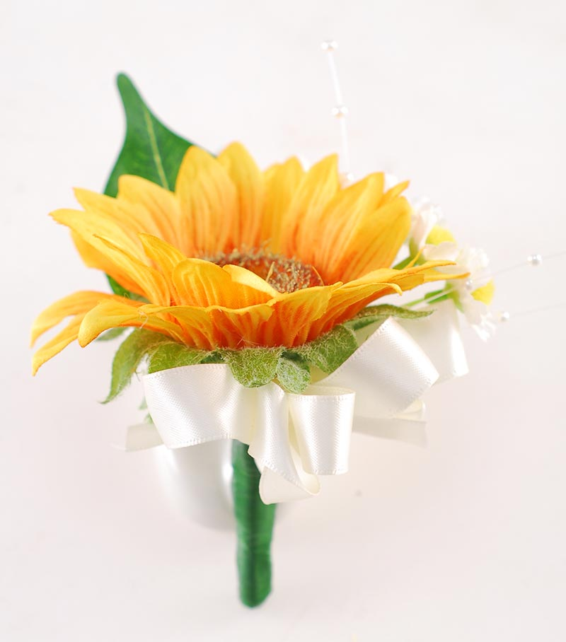 Millie Golden Sunflower, Coffee & Ivory Rose Pearl Spray & Daisy Wedding Flower Package