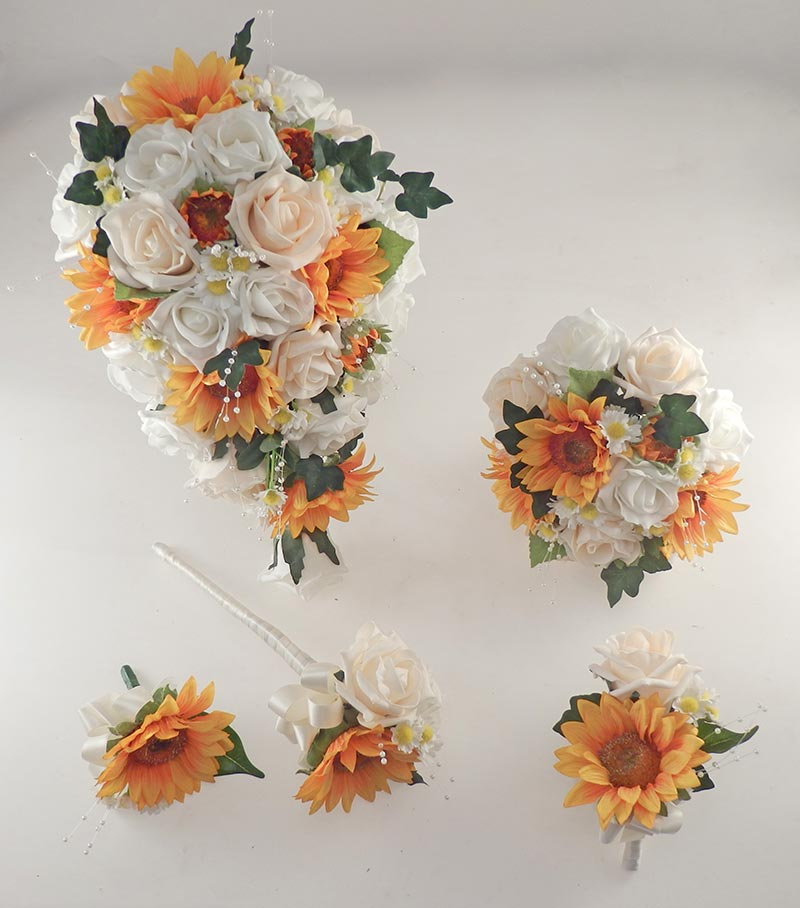 Millie Golden Sunflower, Cream & Ivory Rose Pearl Spray, Daisy Wedding Flower Package