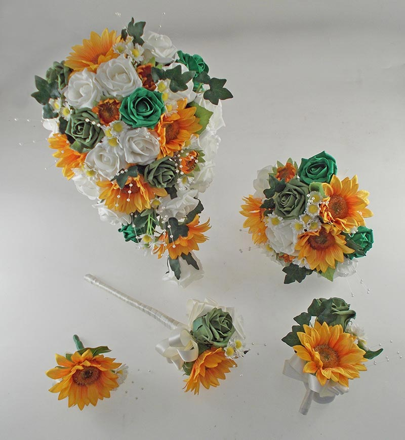 Millie Golden Sunflower, Emerald & Forest Green Rose Pearl Spray, Daisy Wedding Flower Package