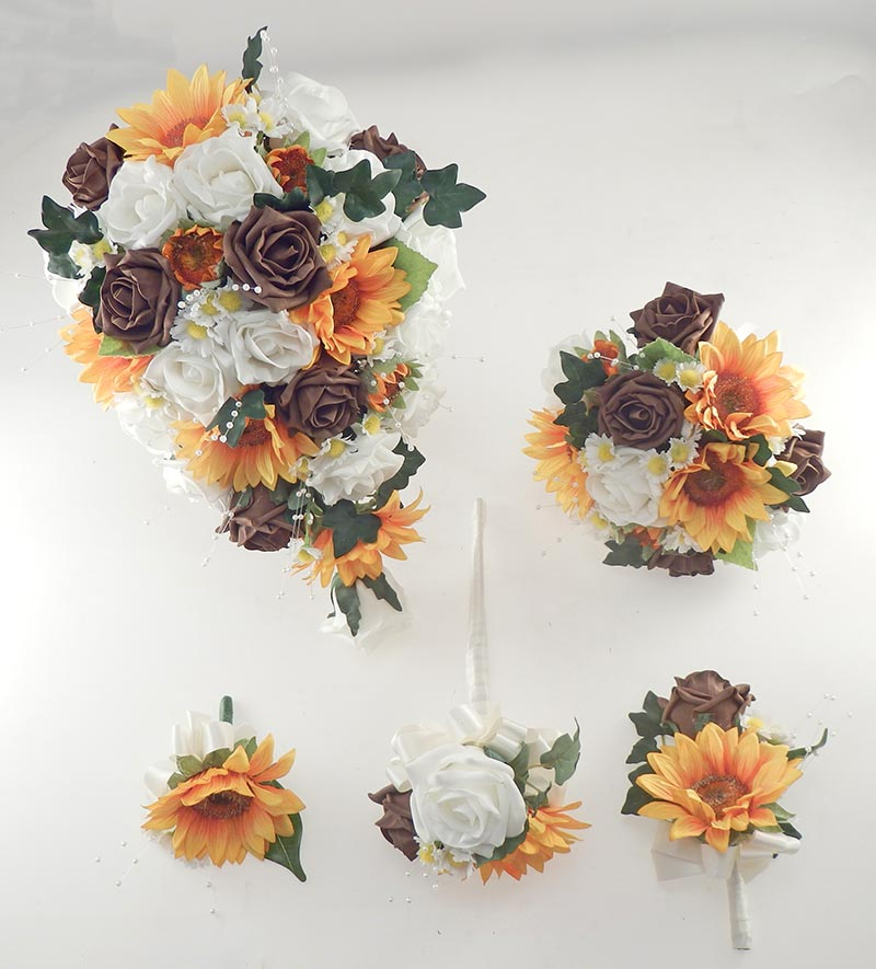 Millie Golden Sunflower, Ivory & Brown Rose Pearl Spray & Daisy Wedding Flower Package