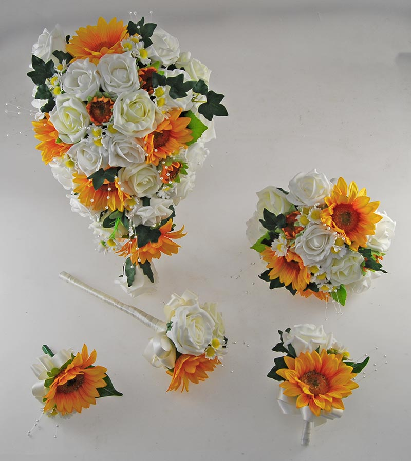 Millie Golden Sunflower, Lemon Rose Pearl Spray, Daisy Wedding Flower Package