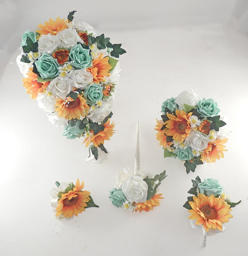 Millie Golden Sunflower, Mint & Ivory Rose Pearl Spray, Daisy Wedding Flower Package