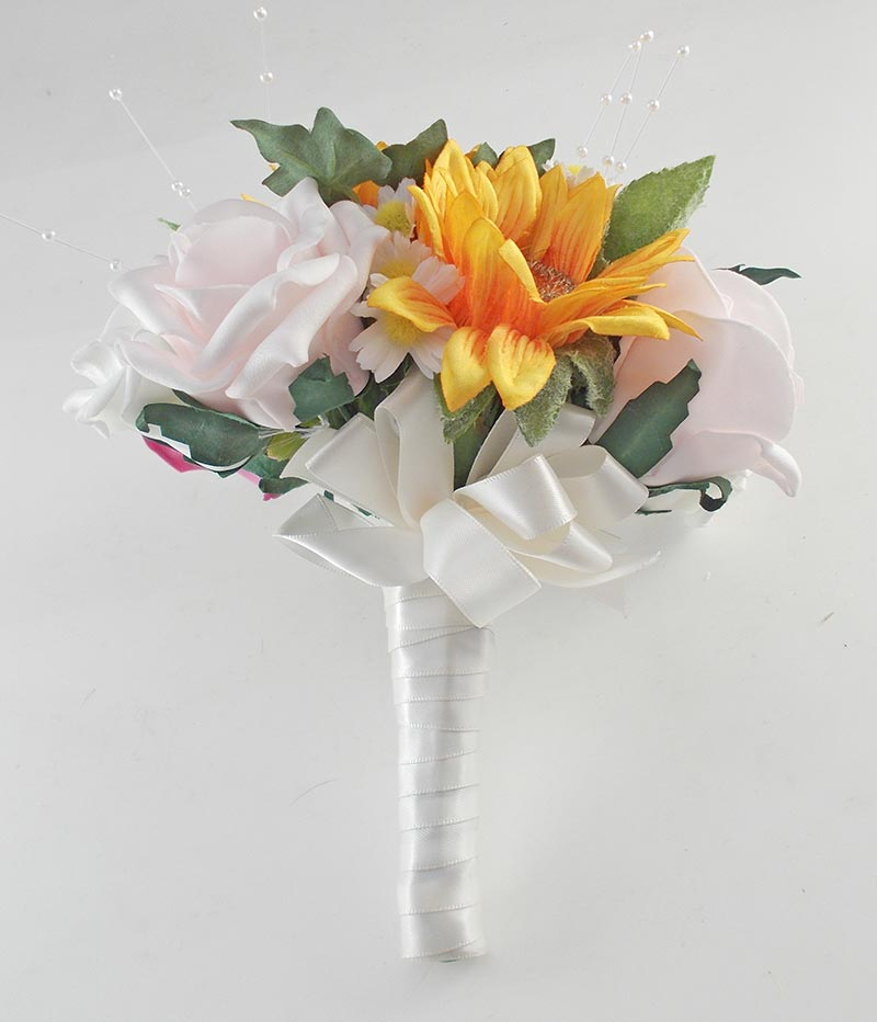Millie Golden Sunflower, Pink Rose Pearl Spray, Daisy Wedding Flower Package