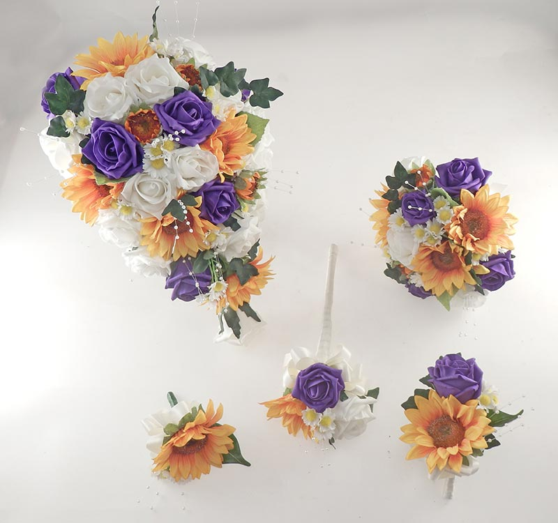 Millie Golden Sunflower, Purple & Ivory Rose Pearl Spray, Daisy Wedding Flower Package