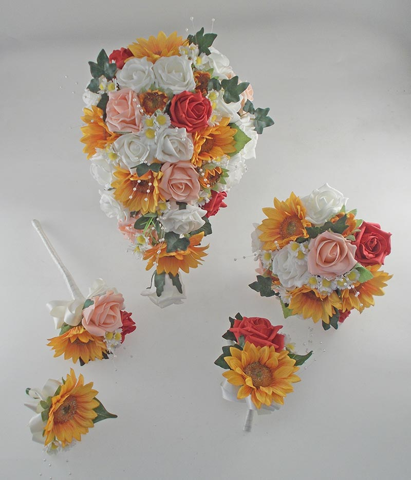 Millie Golden Sunflower, Red Rose Pearl Spray, Daisy Wedding Flower Package