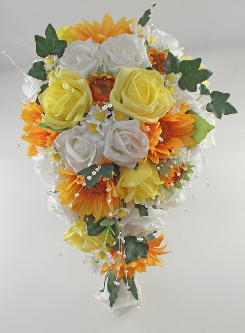 Millie Golden Sunflower, Yellow & Ivory Rose Pearl Spray, Daisy Wedding Flower Package