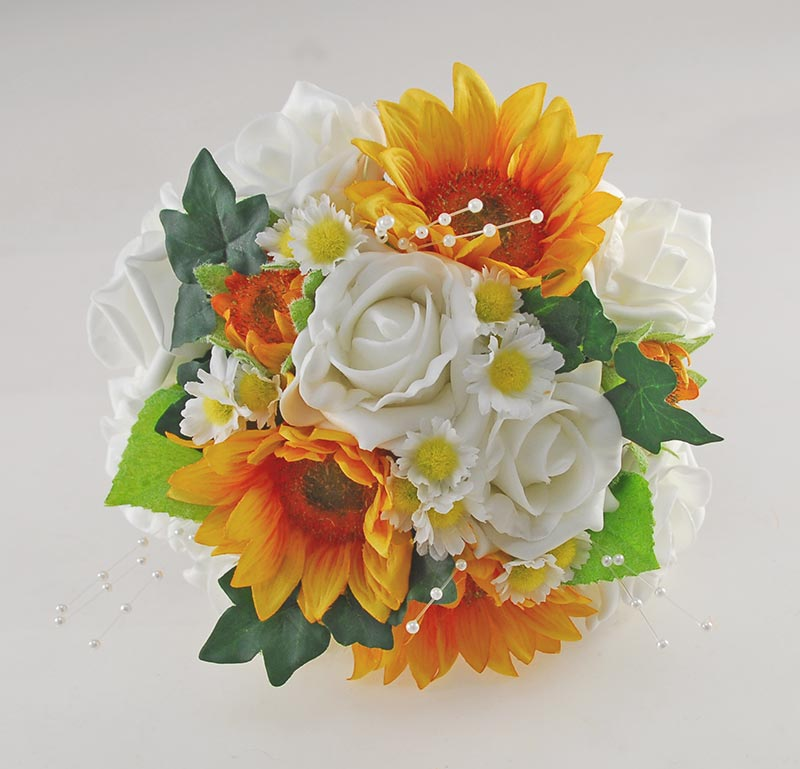 Millie Golden Sunflower, Ivory Rose Pearl Spray & Daisy Wedding Flower Package