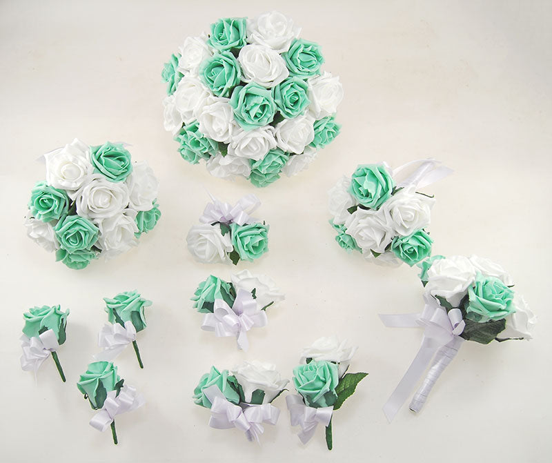 Mint Green & Ivory Foam Rose Classic Wedding Flower Package