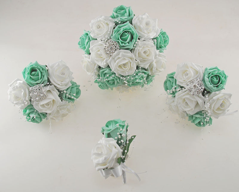 Mint Green and White Diamante Foam Rose and Brooch Wedding Flower Package with Brides Bouquet, Bridesmaids Posies, Grooms Buttonhole