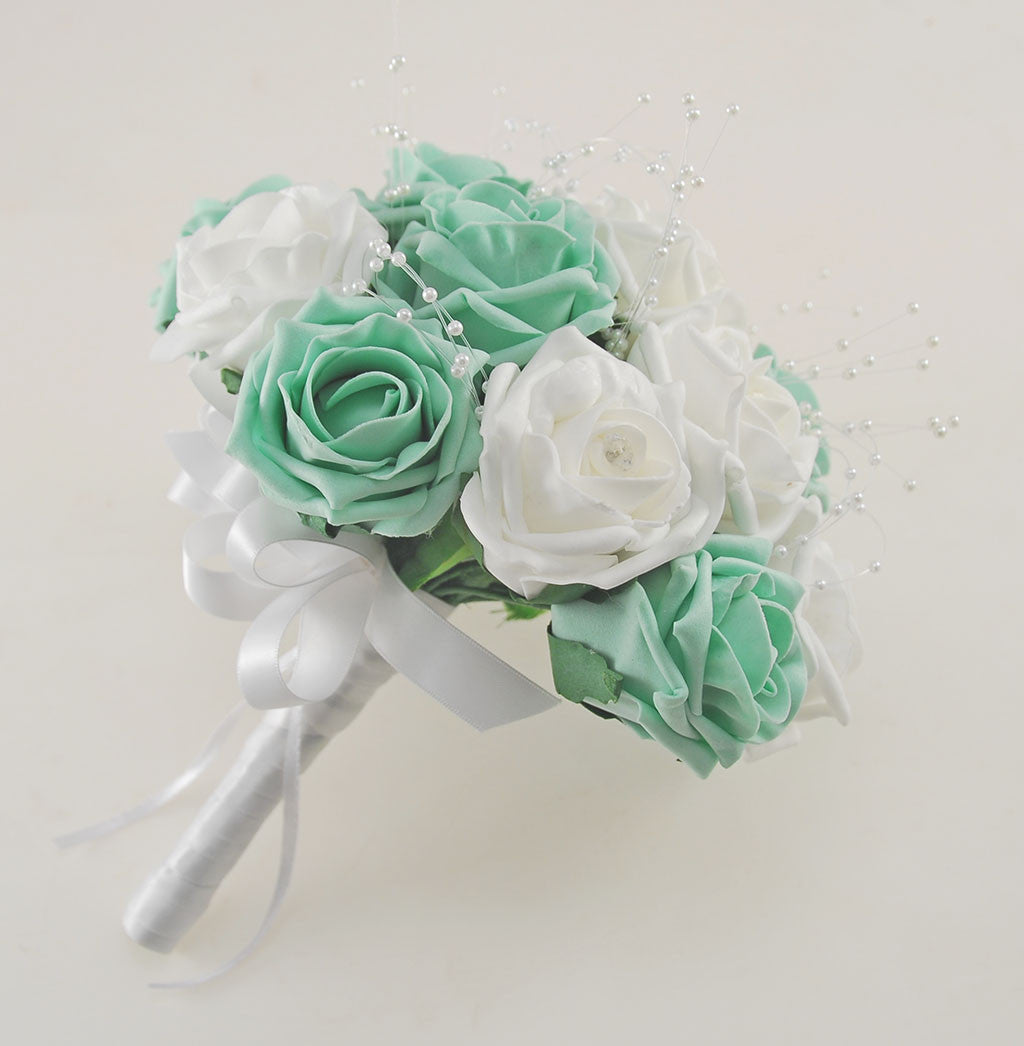 Mint Green and White Diamante Foam Rose and Brooch Wedding Flower ...