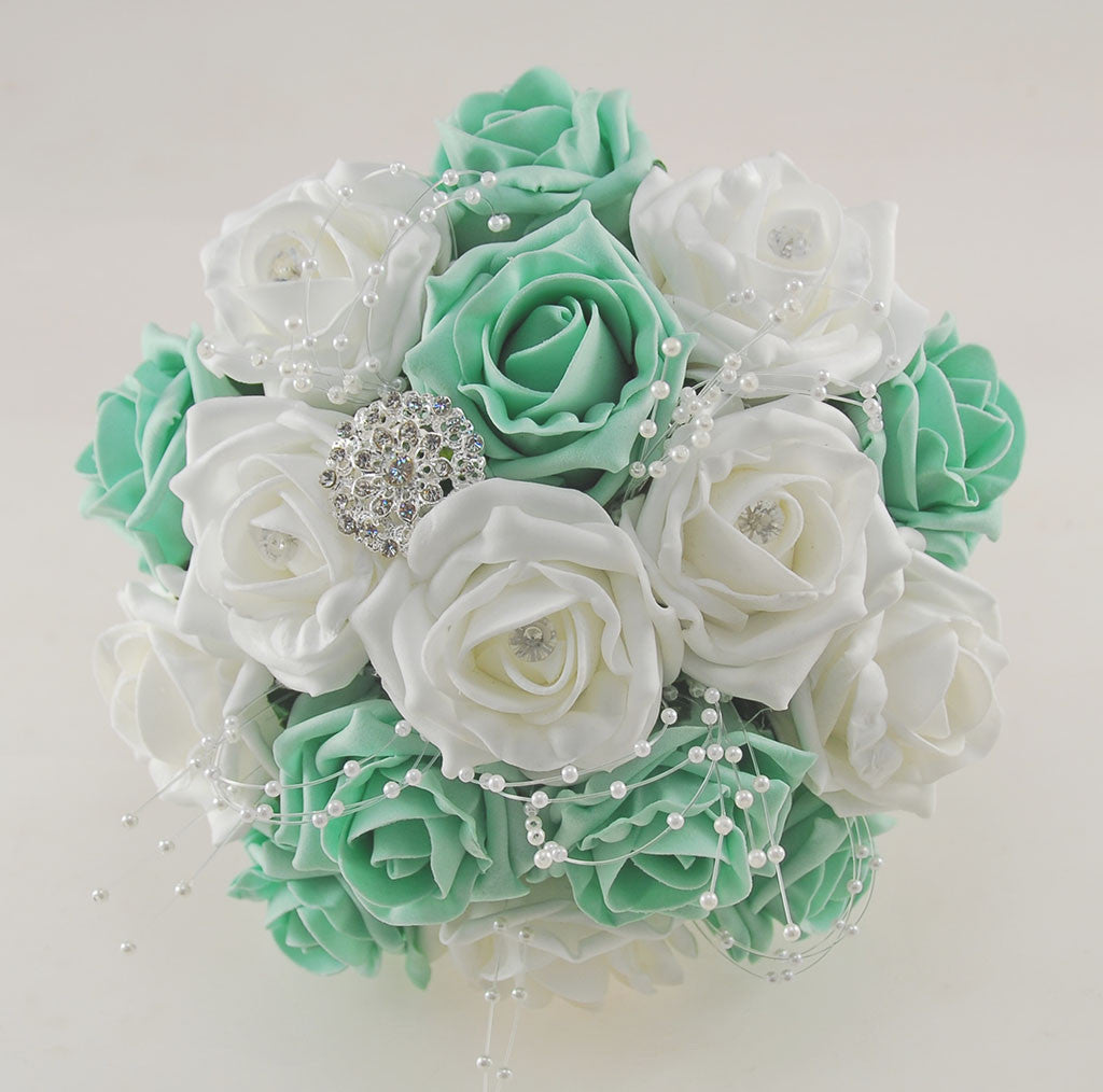 Mint Wedding Flowers: Mint Green And White Diamante Foam Rose And Brooch Wedding