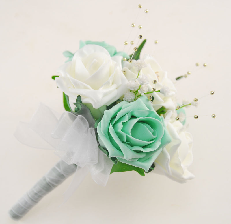 Mint & Ivory Fake Rose Flower Girl Wedding Posy with Dragonfly Charm