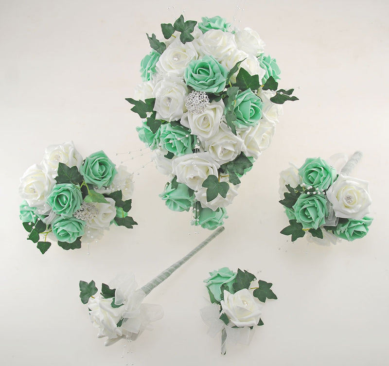 Mint & Ivory Rose Evie Wedding Shower Package, Brides Shower, Bridesmaids Bouquet, Flower Girl Posy, Wand, Grooms Buttonhole