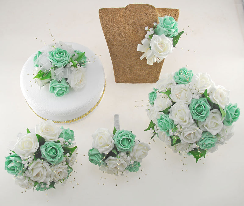 Mint & Ivory Rose Lucy Wedding Flower Package, With Gold Pearls & Dragonfly Charm