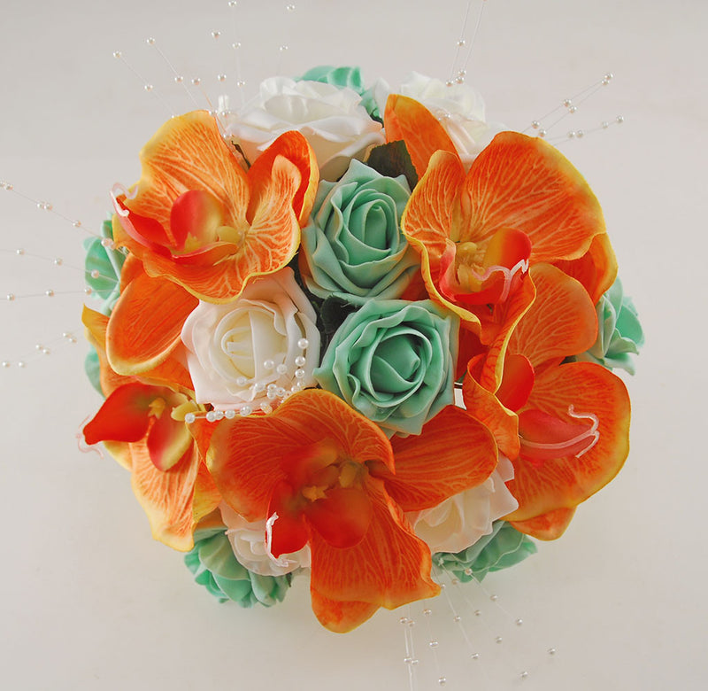 Mint & Ivory Rose, Orange Orchid, Tropical Wedding Flower Package with Brides Bouquet, Bridesmaids Posy, Grooms Buttonhole, Hair Comb & Guest Buttonholes