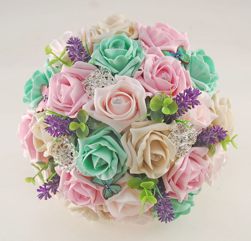 Wedding Flowers On A Budget Uk: Mint, Pink & Mocha Rose Butterfly, Brooch And Lavender