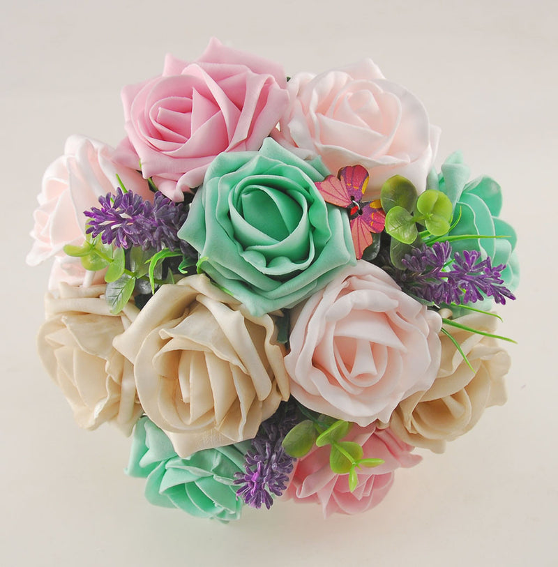 Mint Wedding Flowers: Mint, Pink & Mocha Rose Butterfly, Brooch And Lavender